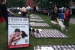 At Woofstock - People, dogs, blankets - we were ready to speed date! And then the rain came..
